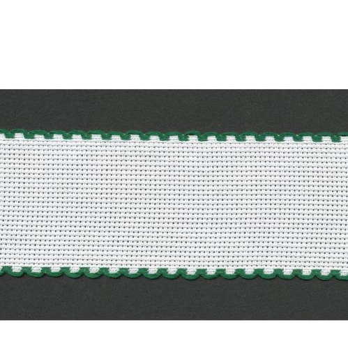 2.5cm Aida Band Zwiegart Per Metre White/Green Edge