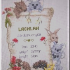 Bush Babies Birth Sampler Chart by Carrol Nielsen