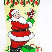 Santa with Mini Santa - Hand Painted Needlepoint Christmas Stocking Canvas by Lee's Needle Arts
