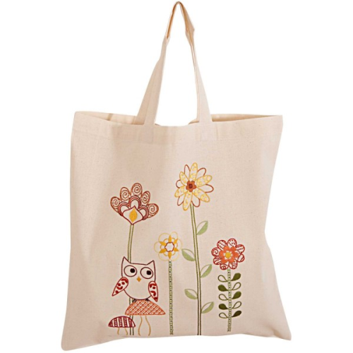 Embroidered Owl and Flower Calico Bag Kit by Rico Designs 67253
