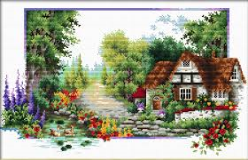 English Cottage Stream No Count Cross Stitch By Needleart World
