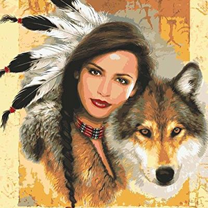 India Girl and Wolf Tapestry 11.855 by Grafitec