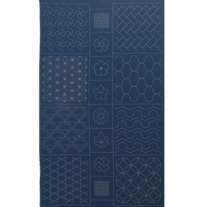 Geometric Sashiko Panel Navy