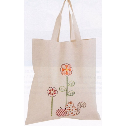 Embroidered Squirrel Calico Bag by Rico Design 67254