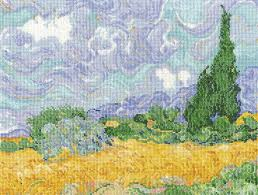 Van Gough A Wheatfield With Cypresses Cross Stitch Kit
