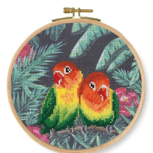 DMC Stamped Cross Stitch Kit Lovebirds