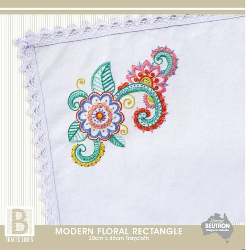 Modern Floral Rectangle Traycloth Kit by Beutron