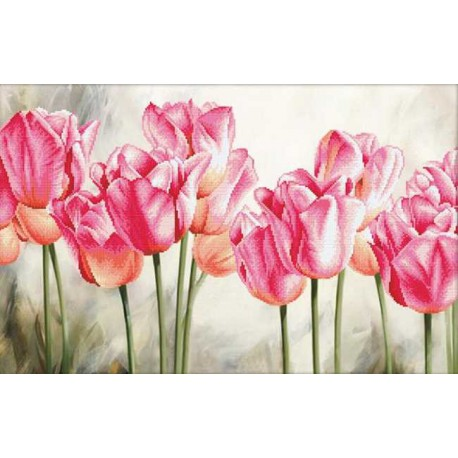 Pink Tulips No Count Cross Stitch By Needleart World