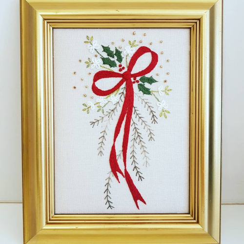 Cranberry Christmas Embroidery/Wall Hanging by Faded Rose Creations