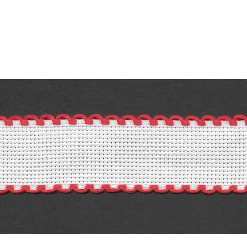5cm Aida Band Zwiegart Per Metre White/red edge