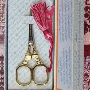 Gilded Eiffel Tower Embroidery Scissors with Pink Charm from Sajou