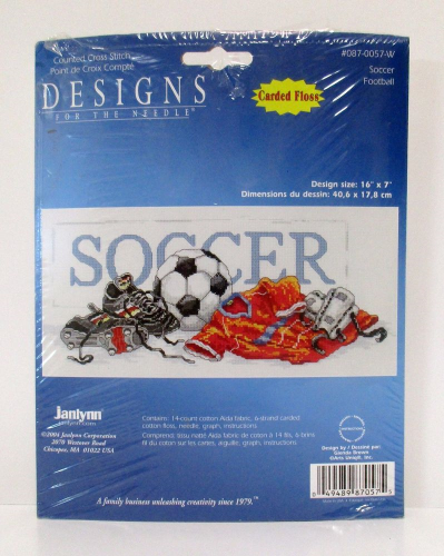 Soccer Stamped Cross Stitch By Janlynn