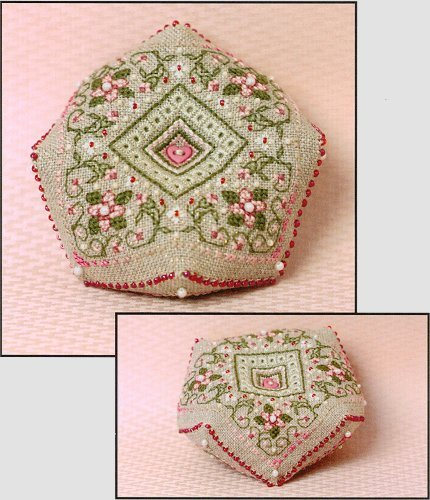 Cherry Blossoms Biscornu Pincushion Kit By The Sweetheart Tree