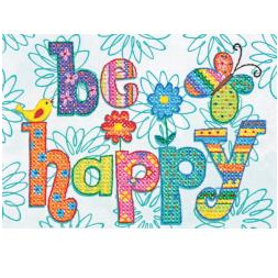 Be Happy Stamped Cross Stitch by Dimensions