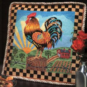Sunrise Rooster Needlepoint Pillow by Alice Peterson Company