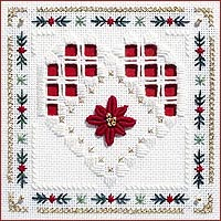 Poinsettia Heart Beyond Cross Stitch Kit by Victoria Sampler