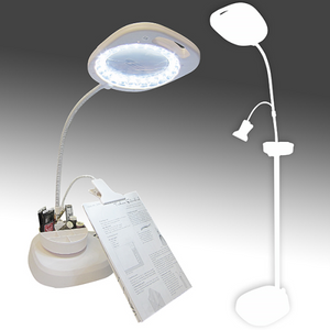 Led Magnifier Floor Lamp With Clip Arm And Tray