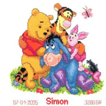 Disney Winnie and Friends Birth Sampler by Vervaco - PN-0014846