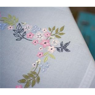 Flowers and Leaves Embroidered Table Cloth by Vervaco - PN0169745