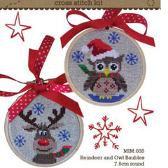 Reindeer and Owl Bauble Cross Stitch Kit by Make It