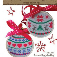 Tree and Hearts Bauble Cross Stitch Kit by Make It