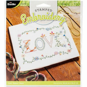 Love Stamped Embroidery Kit by Bucilla