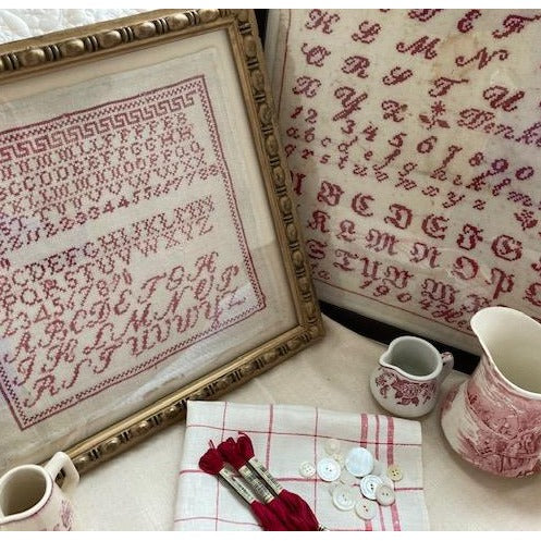 A Collection of Antique Red Samplers by JBW Designs
