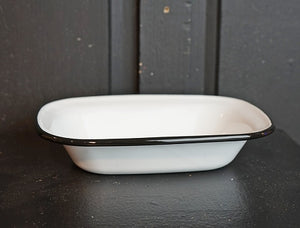 Black and White Enamel Dish