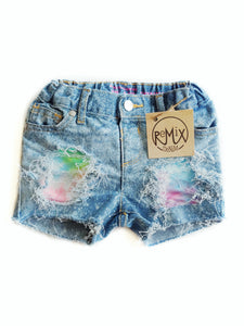 Neon Tiedye Distressed Shorts