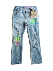 Neon Tiedye Distressed Jeans