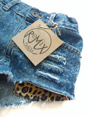 Acid Splashed Leopard Hilo Distressed  Shorties