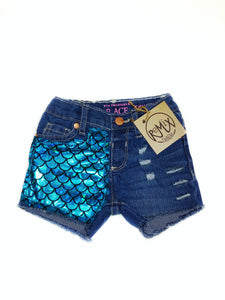 Metallic Mermaid Distressed Shorts