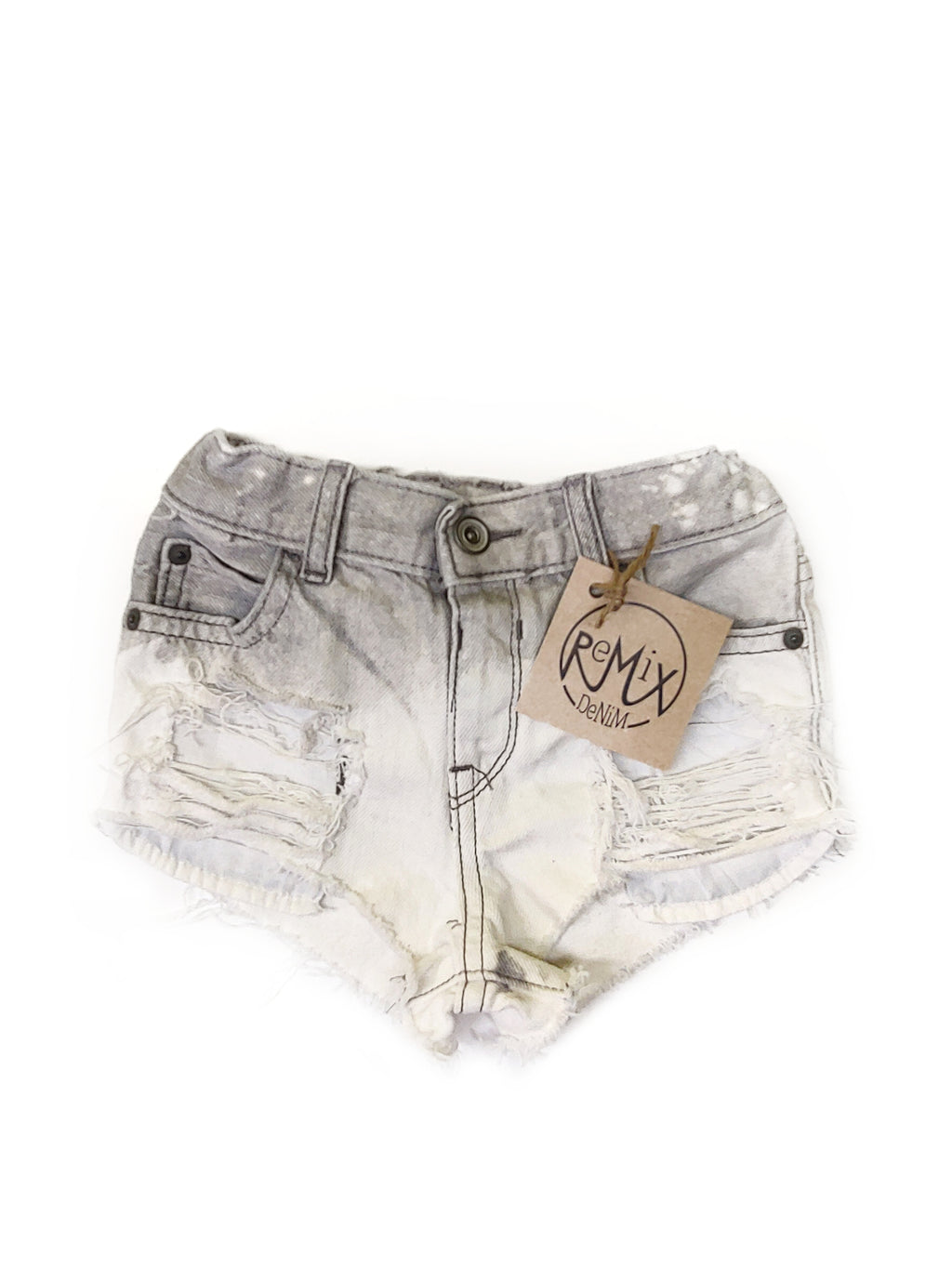 Grey Acid Dipped, Heavy Distressed Hilo Shorties