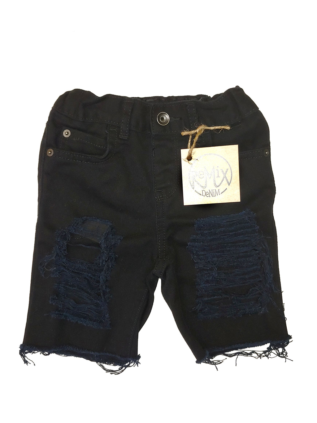 Black Super Distressed Boys Shorts