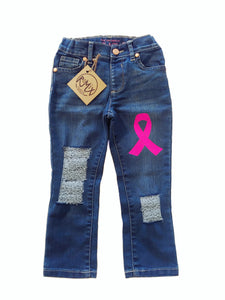 Pink Ribbon Distressed Jeans