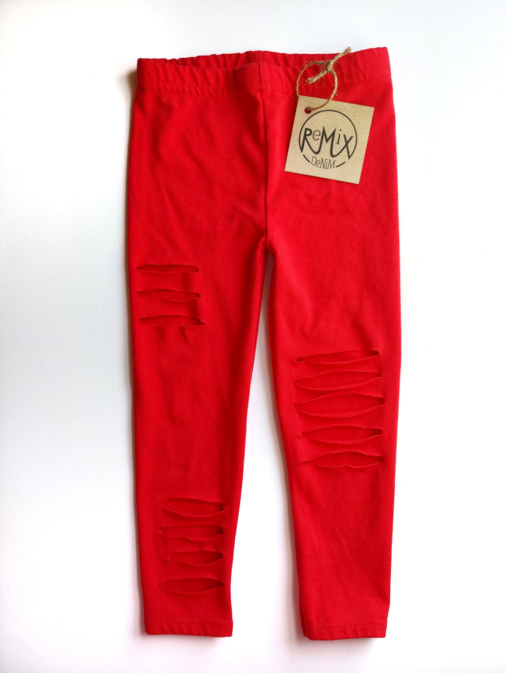 Red Distressed Leggings