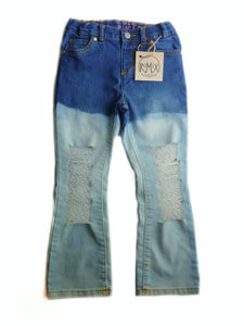 Acid Wash Bootcut Distressed Jeans