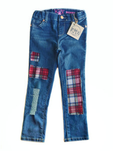 My Favorite Plaid Distressed Jeans