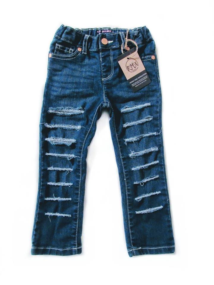 Basic Shredded Jeans, Dark Wash (Girls & Boys)