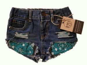 Hilo Cowgirl Bandana Pocket Shorties (Red or Teal)