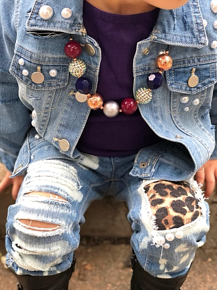 Acid Washed Leopard Distressed Jeans