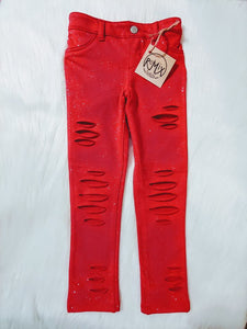 Red Sparkle Shredded Jeggings