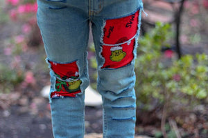 Grinch Distressed Jeans, Unisex Fit