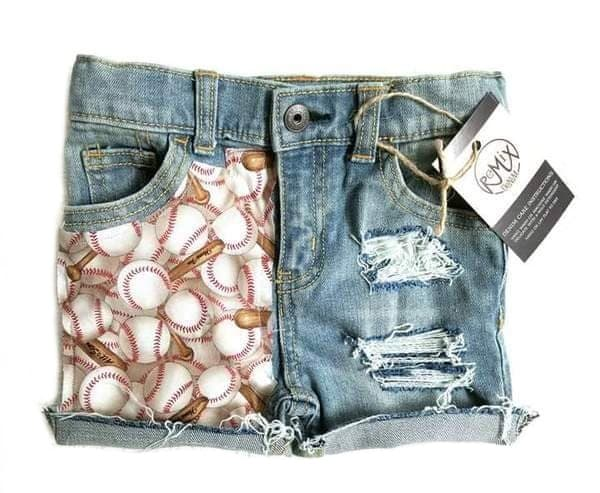 Baseball Distressed Shorties