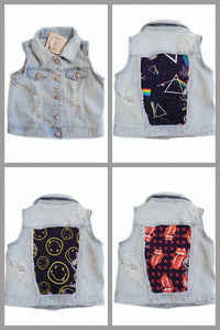 Light Wash Distressed Denim Vest (3 Fabric Options)