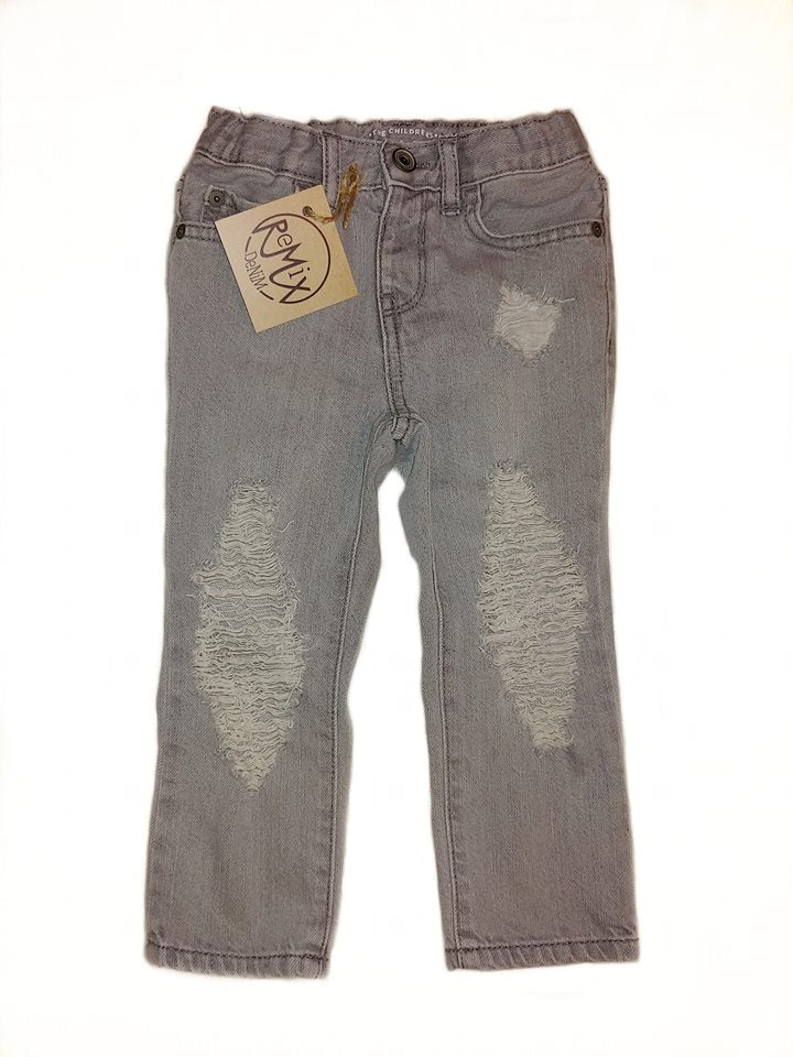Basic Grey Distressed Jeans, Unisex Fit