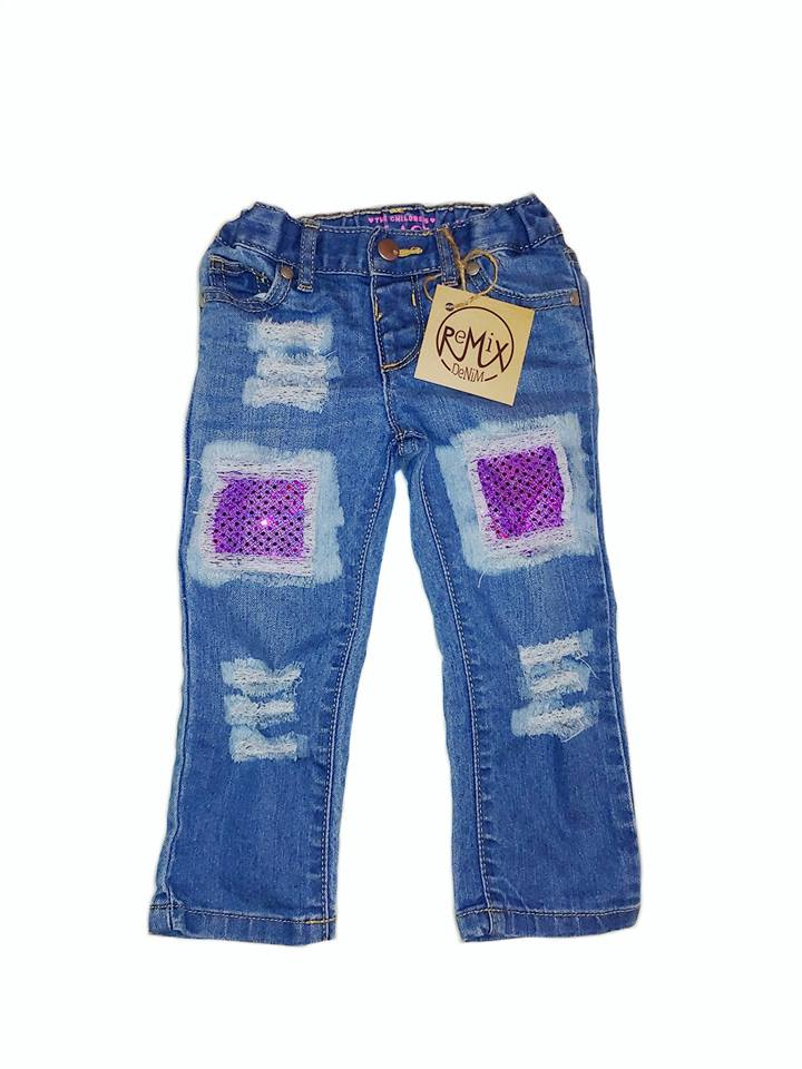 Acid Washed Purple Sparkle Distressed Jeans