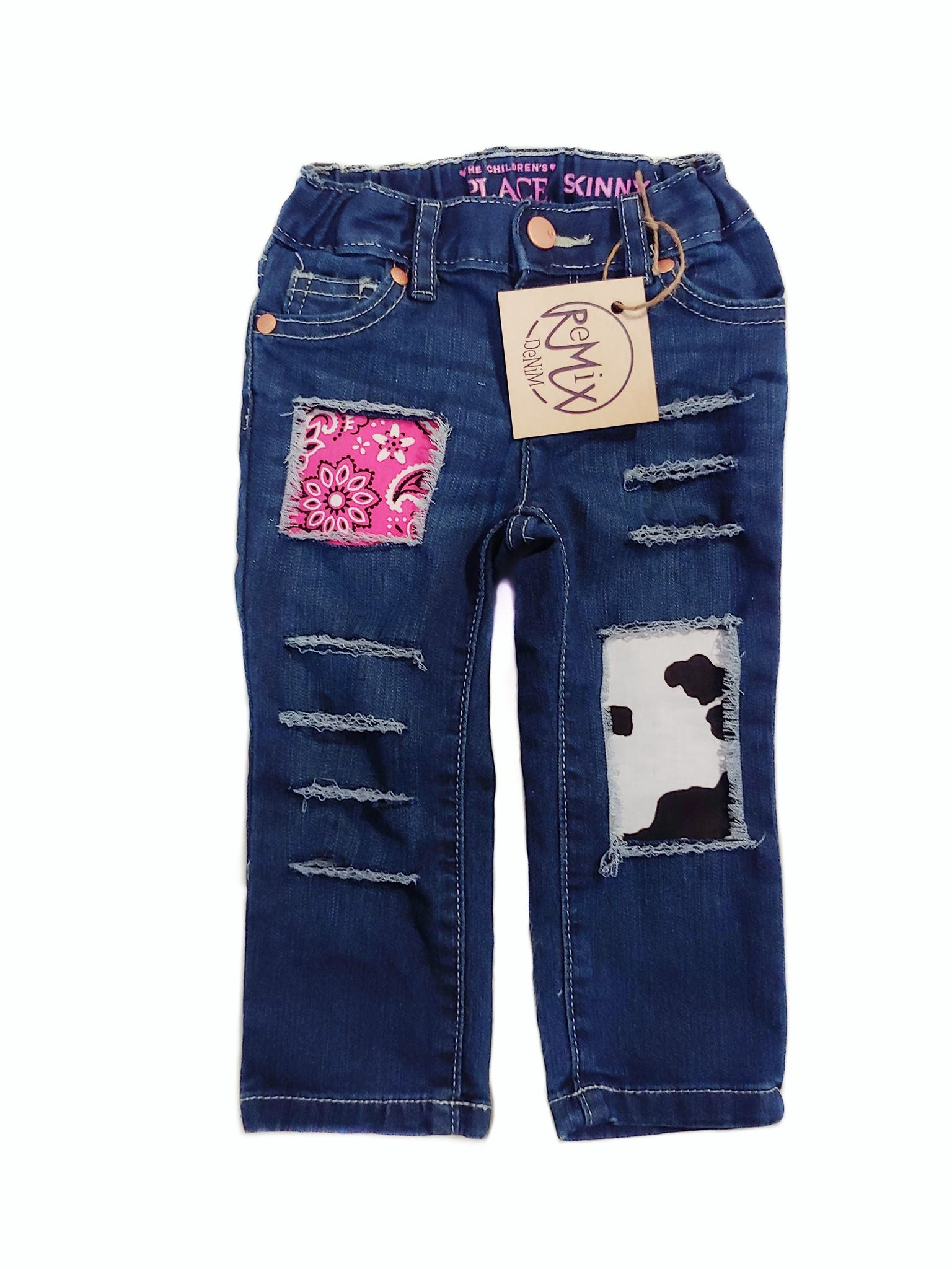 Pink Cowgirl Distressed Jeans
