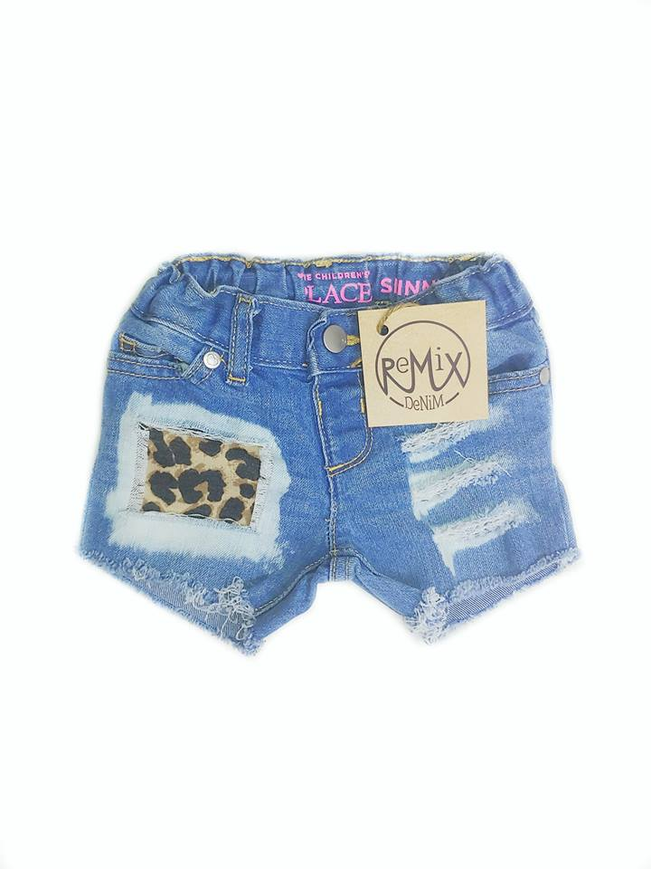 Acid Wash Leopard Shorts