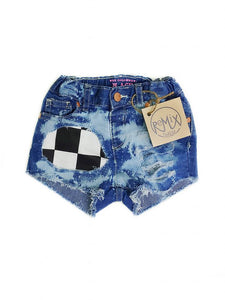 Checker Flag Distressed Shorts